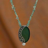 Cultured pearl and agate pendant necklace, 'Hope' - Handcrafted Agate and Cultured Pearl Necklace on Tourmaline