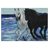 'Horses' - Brazilian Horses on Beach Painting Original Artwork