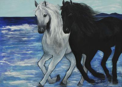 Brazilian Horses on Beach Painting Original Artwork
