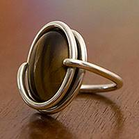 Tiger's eye cocktail ring, 'Swirling Abundance'