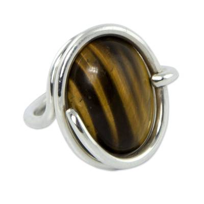 Tiger's eye cocktail ring, 'Swirling Abundance' - Tiger's Eye and Sterling Silver Cocktail Ring from Brazil