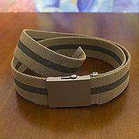 Men's cotton belt, 'Beige Green Equilibrium' - Cotton Canvas Belt for Men with Nickel Plated Buckle
