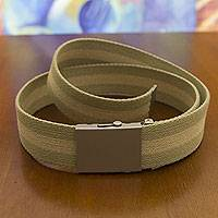 Men's cotton belt, 'Green Beige Equilibrium' - Men's Cotton Belt with Satiny Buckle One Size Fits Most