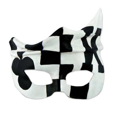 Handcrafted Black and White Leather Mask Brazilian Carnaval