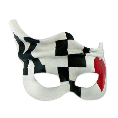 Leather mask, 'King of Hearts' - Hand Crafted Black Red White Leather Mask Brazilian Carnaval