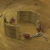 Golden grass and agate wristband bracelet, 'Palace' - Brazilian Handcrafted Golden Grass and Brown Agate Wristband