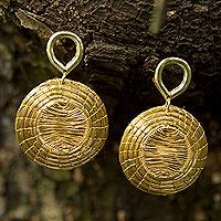 Gold accent golden grass dangle earrings, 'Sunbeams' - Brazilian Hand Crafted Golden Grass Dangle Earrings