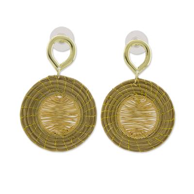 Brazilian Hand Crafted Golden Grass Dangle Earrings
