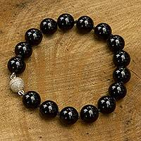 Agate beaded bracelet, 'Worlds of Night' - Brazilian Handmade Black Agate Beaded Bracelet