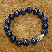 Lapis lazuli beaded bracelet, 'Worlds of Blue' - Brazilian Handmade Lapis Lazuli Beaded Bracelet