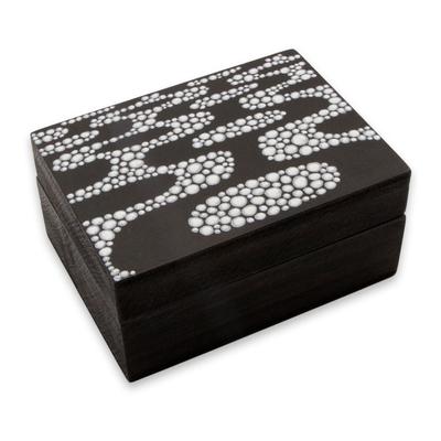 Wood Decorative Box Ipanema Promenade Brazilian Crafted In Black