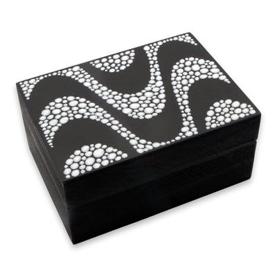 Black And White Decorative Boxes Extraordinary Hand Painted Waves In Black And White Decorative Box  Copacabana Review