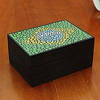 Wood decorative box, 'Brazilian Pride' - Brazilian Flag on Artisan Crafted Decorative Wood Box