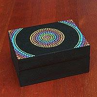 Wood decorative box, 'Rainbow Mandala' - Multicolored Hand Painted Decorative Wood Box from Brazil