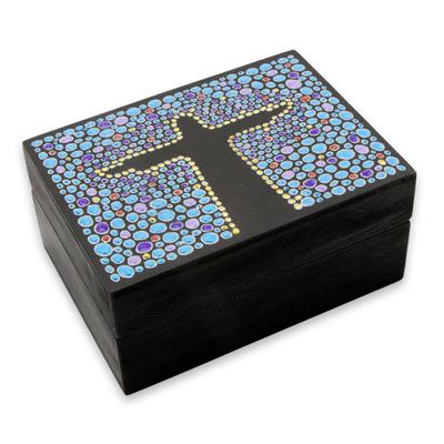 Blue Black Hand Painted Cristo Redentor Wood Decorative Box