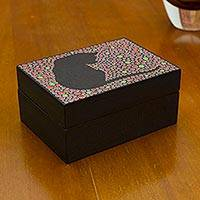 Wood decorative box, 'Crimson Feline Constellation' - Red Black Hand Painted Cat Theme Decorative Wood Box