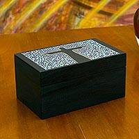 Wood tea box, 'Azure Christ the Redeemer' (small) - Hand Painted Two Compartment Cristo Redentor Wood Tea Box