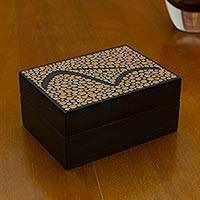 Wood decorative box, 'Orange Sugarloaf Mountain' - Artisan Crafted Decorative Box in Black and Orange