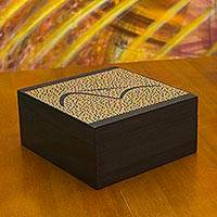 Wood tea box, 'Orange Sugarloaf Mountain' (medium) - Orange Artisan Crafted Wood Tea Box with 4 Compartments