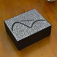 Wood jewelry box, 'White Sugarloaf Mountain' - Brazilian Landmark on Hand Painted White Jewelry Box