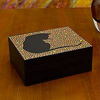 Wood jewelry box, 'Orange Feline Constellation' - Cat on Hand Painted Wood jewellery Box with 6 Compartments