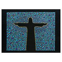 Wood wall art, 'Azure Christ the Redeemer' - Cristo Redentor on Blue Hand Painted Wood Wall Art Panel
