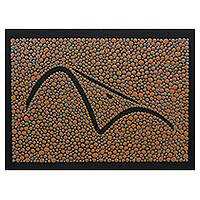 Wood wall panel, 'Orange Sugarloaf Mountain' - Brazilian Landmark on Hand Painted Wood Wall Art Panel