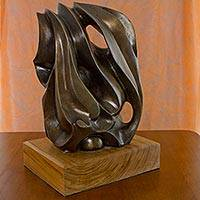 Bronze sculpture, 'Heart of Rio' (2014) - Signed Brazilian Abstract Bronze Sculpture on Mahogany