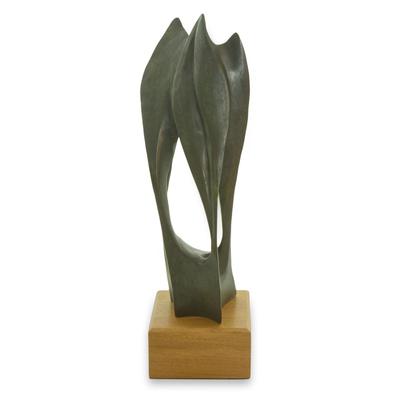 Modern Abstract Artist Signed Bronze Sculpture