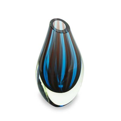 Handblown art glass vase, 'Mystic' - Blue and Red Murano Inspired Handblown Art Glass Vase