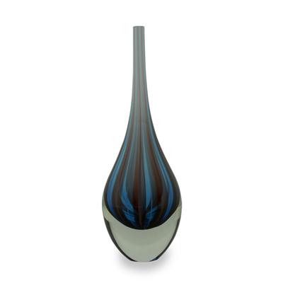 Handblown art glass vase, 'Azure Magic' - Blue and Red Murano Inspired Handblown Art Glass Vase