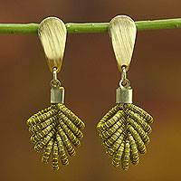 Gold accent golden grass dangle earrings, 'Amazon Leaf' - Brazilian Golden Grass Dangle Earrings with 18k Gold