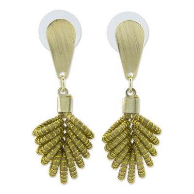 Brazilian Golden Grass Dangle Earrings with 18k Gold