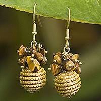 Tiger's eye and golden grass dangle earrings, 'Warmth' - Hand Crafted Brazilian Golden Grass and Tiger's Eye Earrings