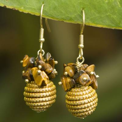 Tigers eye and golden grass dangle earrings, Warmth
