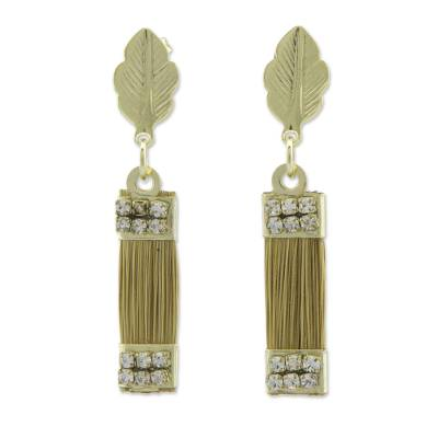 Brazilian Golden Grass Earrings with Gold Plated Accents
