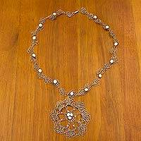 Beaded floral necklace, 'Crystal Bloom' - Hand Crocheted Stainless Steel Necklace with Crystal Beads