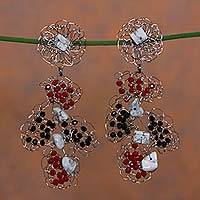 Howlite beaded earrings, 'Gossamer Fantasy' - Howlite on Stainless Steel Crocheted Earrings from Brazil