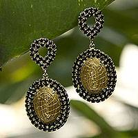 Golden grass and gold plate dangle earrings, 'Jalapão Nights' - Artisan Crafted jewellery Natural Golden Grass Earrings