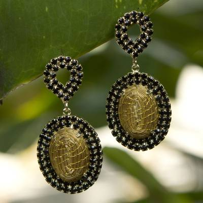 Gold plated golden grass dangle earrings, 'Jalapão Nights' - Artisan Crafted jewellery Natural Golden Grass Earrings