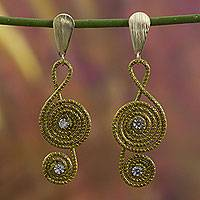 Golden grass and gold plate dangle earrings, 'Jalapão Melody' - Artisan Crafted Clef Note Earrings in Brazilian Golden Grass