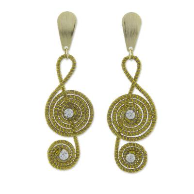 Artisan Crafted Clef Note Earrings in Brazilian Golden Grass