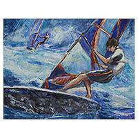 'Sail' - Brazilian Windsurf Painting Signed Fine Art