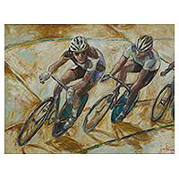 'Cyclist' - Cycling Competition Painting Signed Brazilian Fine Art