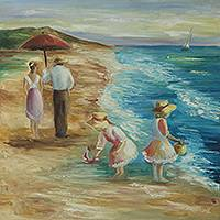'Beach Games' - Original Brazilian Beach Scene Seascape Painting