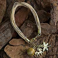 Palm and golden grass charm bracelet, 'Natural World' - Palm and Gold Plated Horse and Dragonfly Charm Bracelet