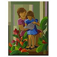 'Watering the Flowers' (2014) - Mother and Daughter with Flowers Signed Original Painting
