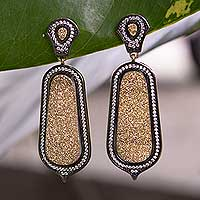 Brazilian drusy agate dangle earrings, 'Golden Light' - Handmade Brazilian Drusy Agate Gold Vermeil Earrings with CZ