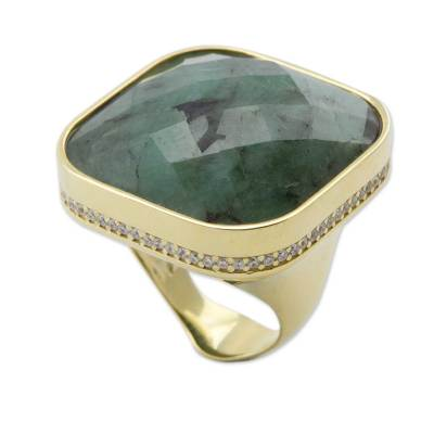 Brazilian Gold Vermeil and Composite Emerald Cocktail Ring