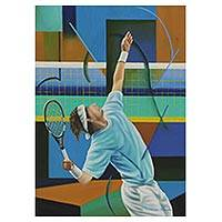 'Tennis Player' - Tennis Player Portrait Painting Signed Brazil Fine Arts
